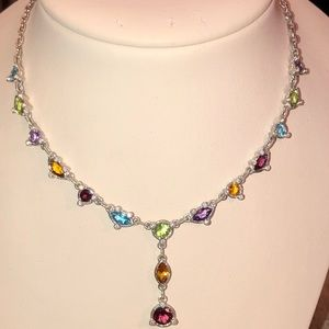 Judith Ripka Multi Gemstone Y Necklace